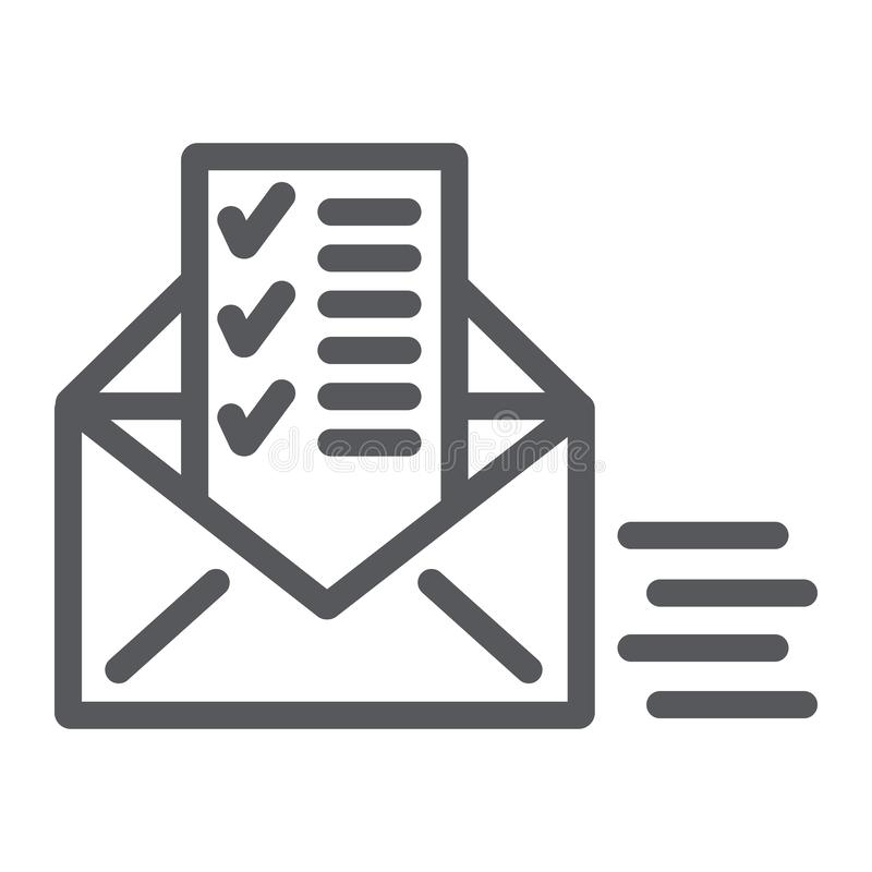 Sent document line icon, email and mail, envelope with list sign, vector graphics, a linear pattern on a white. Background, eps 10 royalty free illustration