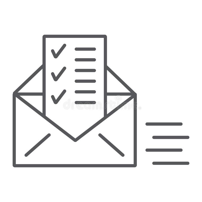 Sent document thin line icon, email and mail, envelope with list sign, vector graphics, a linear pattern on a white. Background, eps 10 vector illustration