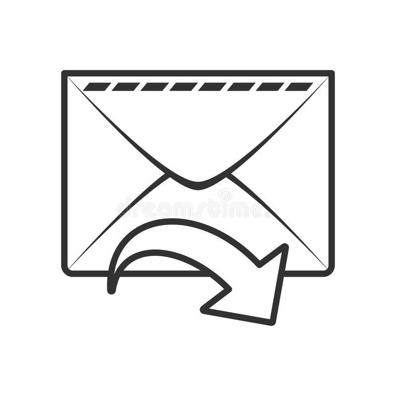 Sent Mail Email Outline Flat Icon on White. Mail envelope or sent email outline flat icon with arrow, isolated on white background. Eps file available stock illustration