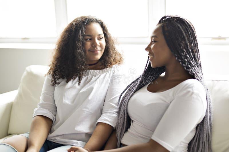 Sentada afroamericana de los amigos cariñosos en el sofá fotografía de archivo libre de regalías