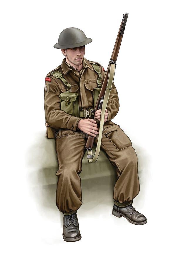 Sentada británica del soldado WW2 stock de ilustración