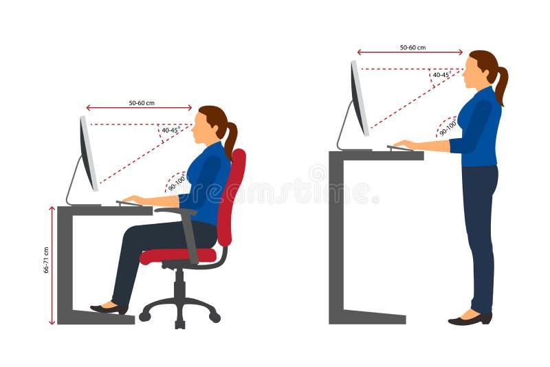 Sentada correcta de la mujer ergonómica y postura permanente al usar un ordenador stock de ilustración
