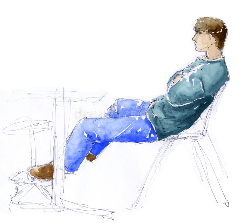 Sentada del hombre - bosquejo libre illustration