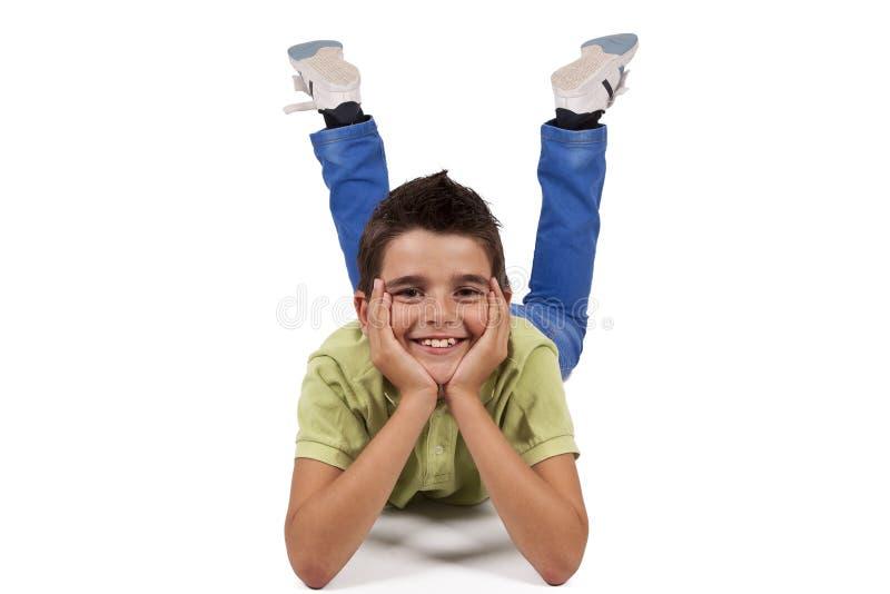 Sentada del muchacho aislada imágenes de archivo libres de regalías