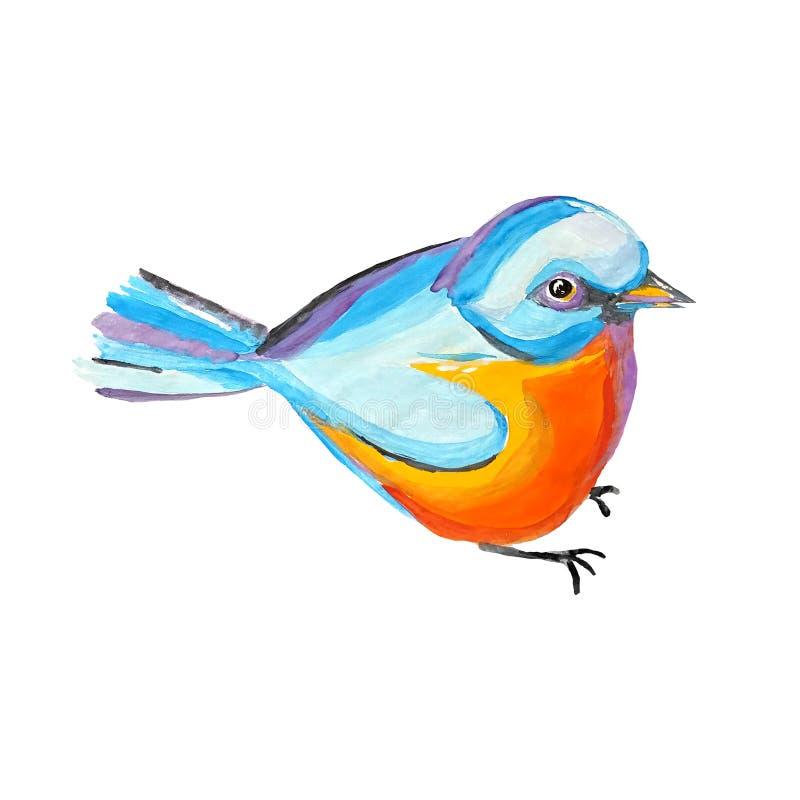 Sentada del pájaro del paro Diseño de personaje de dibujos animados de la acuarela Tomtit abstracto colorido Plantilla linda del  stock de ilustración