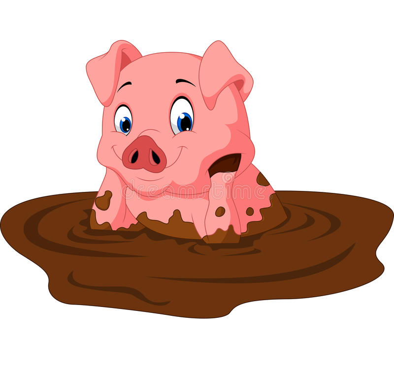 Sentada divertida del cerdo de la historieta libre illustration