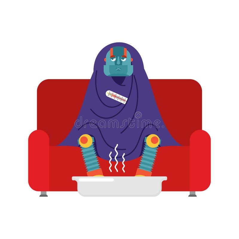 Sentada enferma del robot en la butaca envuelta en manta Illnes del Cyborg libre illustration
