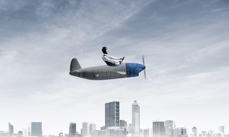 Sentada experimental en cabina del peque?o aeroplano ilustración del vector