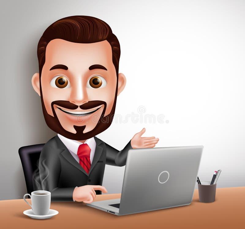 Sentada feliz y funcionamiento de negocios del hombre del carácter profesional del vector en escritorio de oficina ilustración del vector