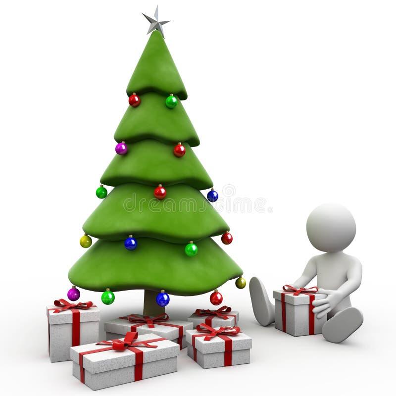 sentada humana 3D al lado del árbol de navidad stock de ilustración