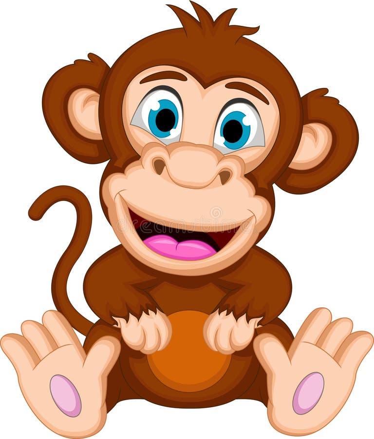 Sentada linda de la historieta del mono del bebé stock de ilustración