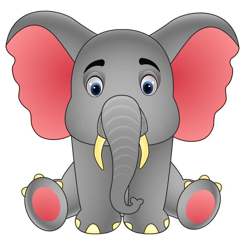 Sentada linda del elefante del bebé aislada en el fondo blanco stock de ilustración