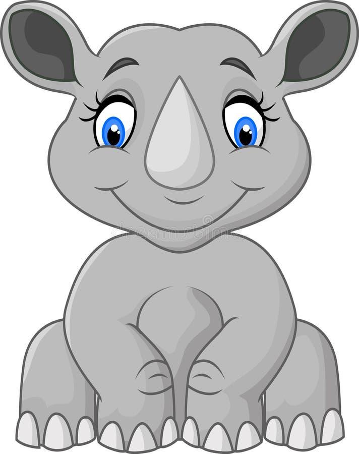 Sentada linda del rinoceronte de la historieta ilustración del vector
