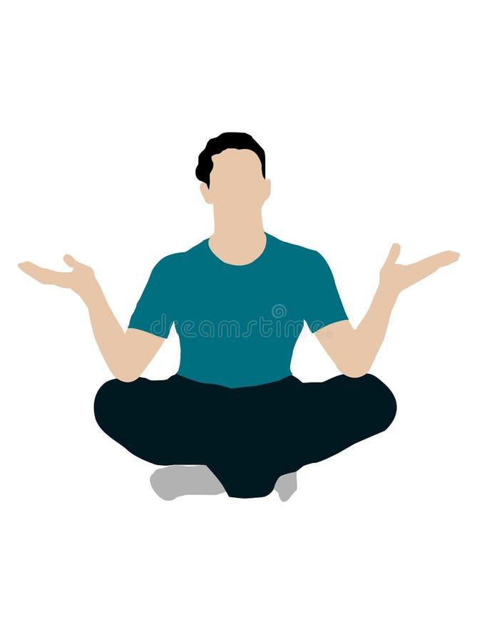 Sentada masculina joven con las palmas abiertas libre illustration