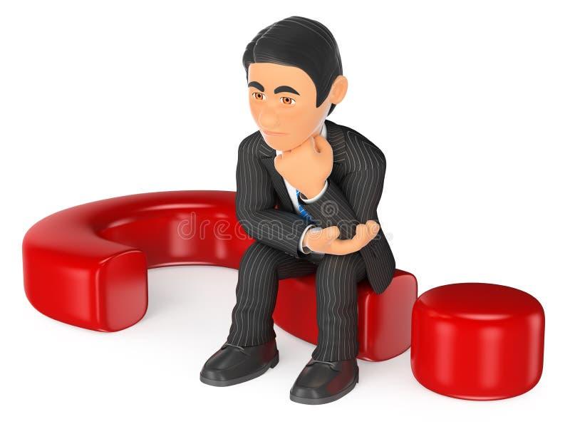 sentada pensativa del hombre de negocios 3D en un signo de interrogación stock de ilustración
