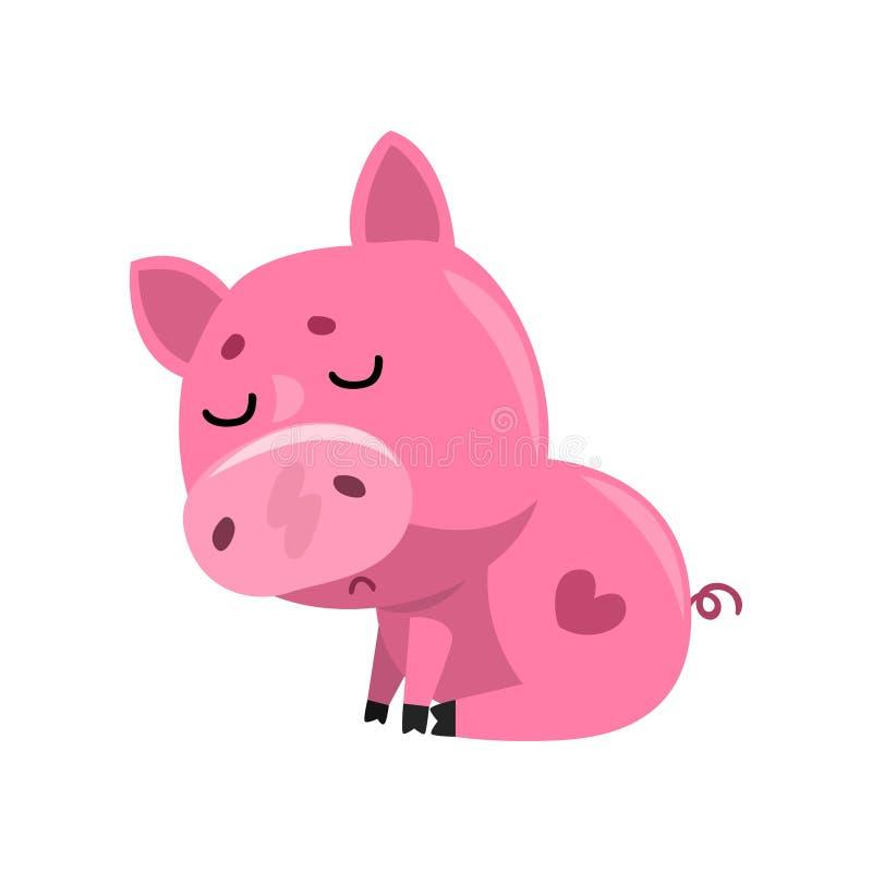 Sentada rosada triste del cochinillo del bebé de la historieta, pequeño ejemplo guarro lindo del vector del carácter en un fondo  libre illustration