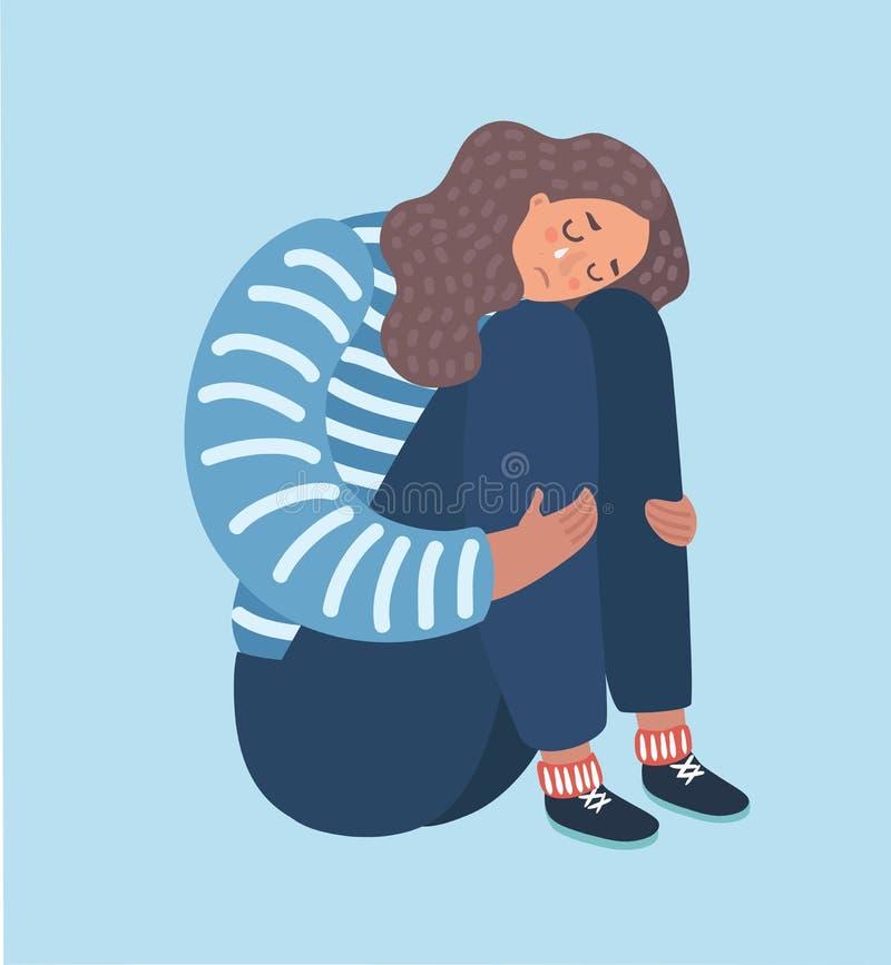 Sentada triste de la muchacha e infeliz abrazo de sus rodillas stock de ilustración