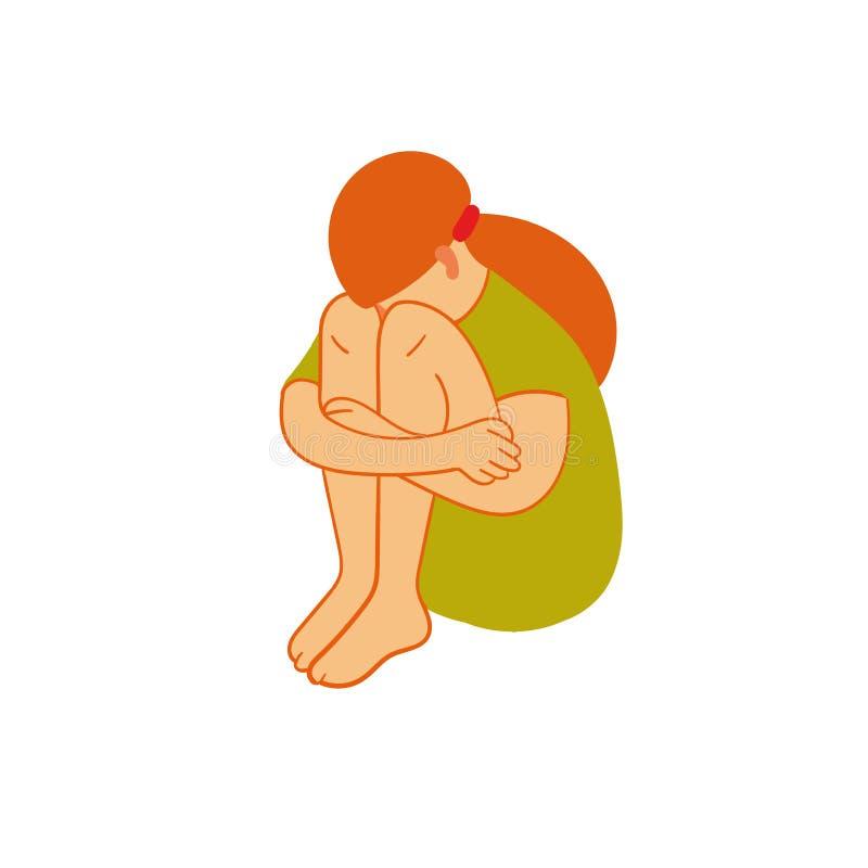 Sentada triste de la muchacha Figura femenina en la posición fetal introvertido ilustración del vector