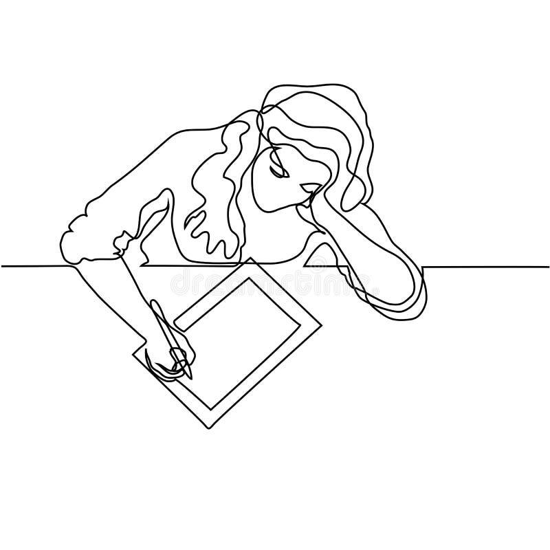 Sentada y dibujo de la mujer con la tableta stock de ilustración