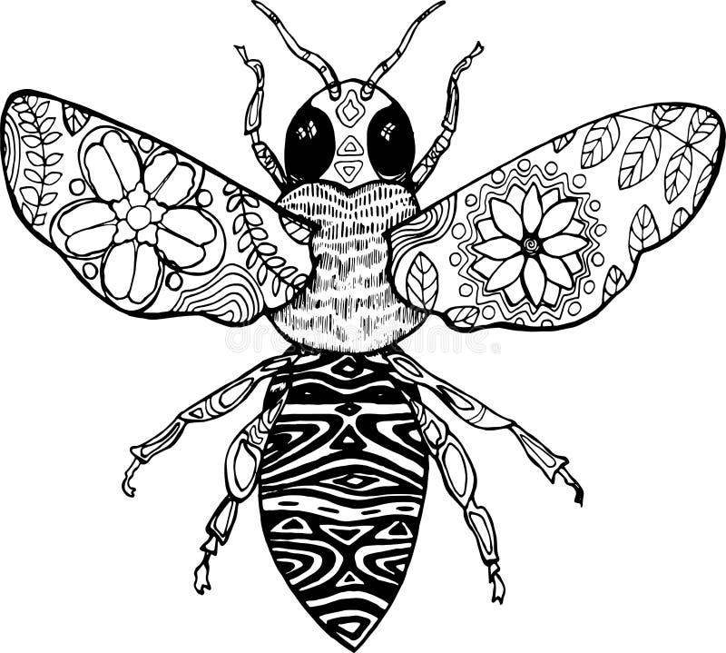 Sentangle stil Svartvit illustration av ett kosmiskt bi arkivfoto