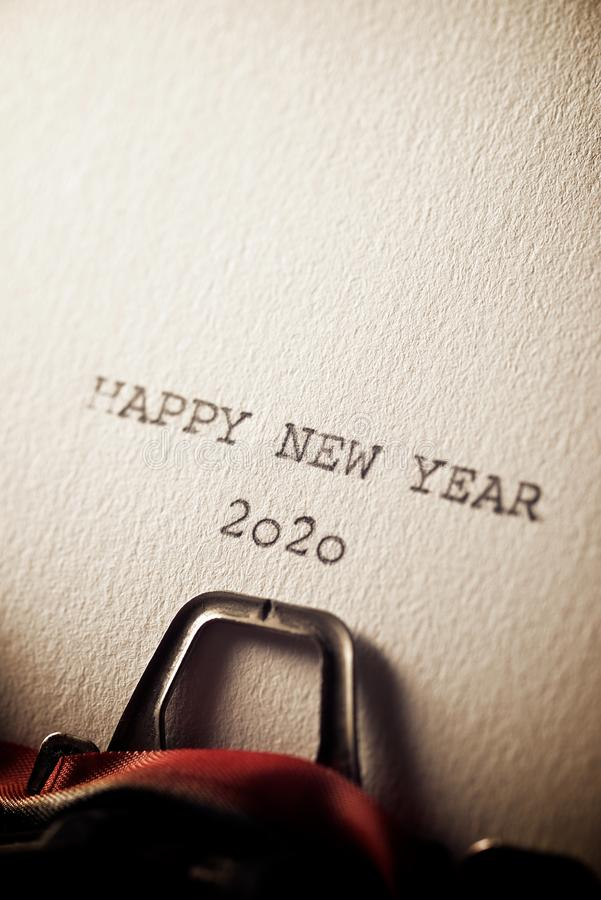 Happy New Year 2020. The sentence, Happy New Year 2020, written with a typewriter royalty free stock photos
