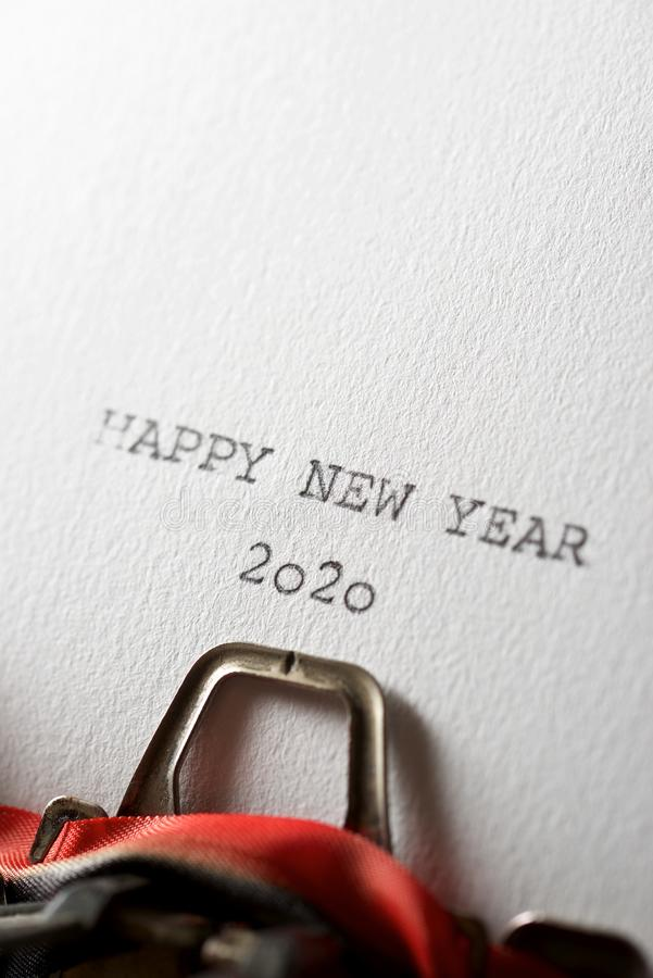 Happy New Year 2020. The sentence, Happy New Year 2020, written with a typewriter stock images