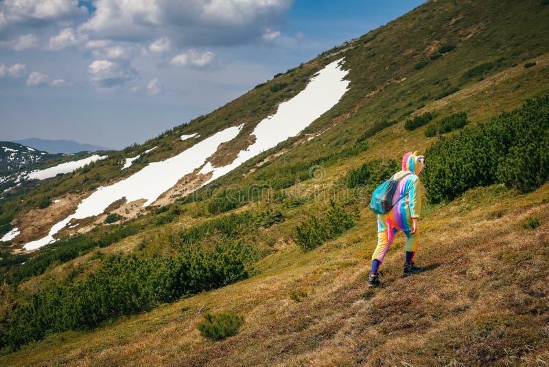 Sentez la liberté en montagnes, femme voyageant dans le costume de licorne image libre de droits