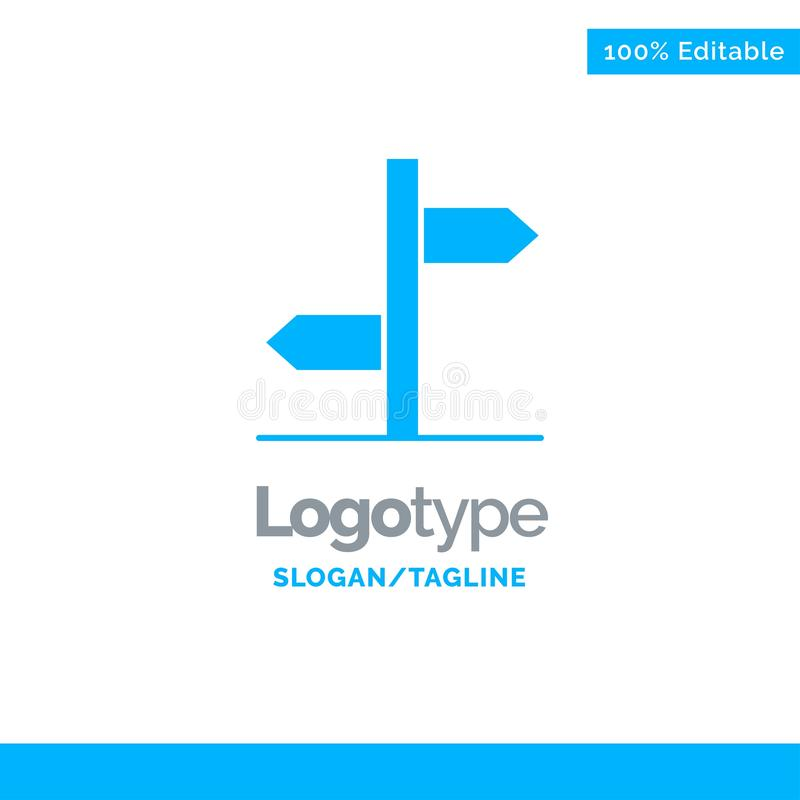 Sentido, logístico, placa, sinal Logo Template contínuo azul Lugar para o Tagline ilustração royalty free