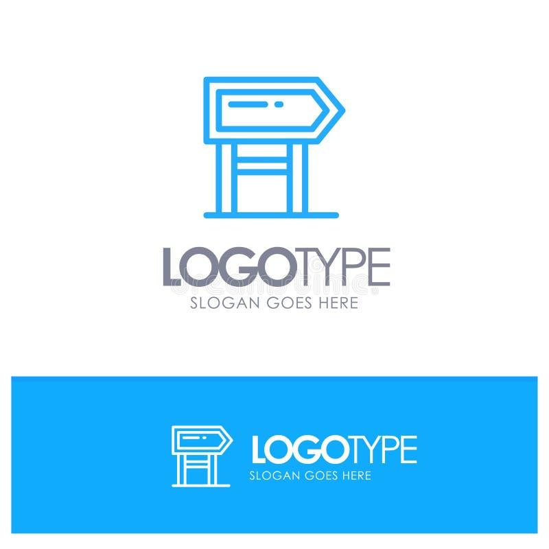 Sentido, placa, lugar, logotipo azul do esboço da motivação com lugar para o tagline ilustração stock