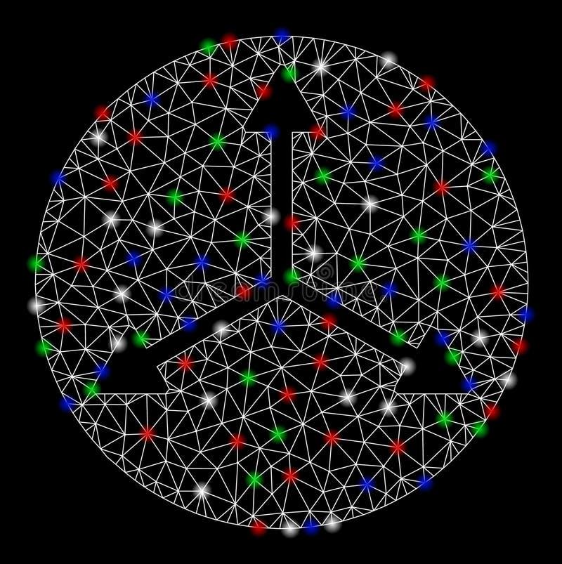Sentidos da malha brilhante 2D 3D Isometry com pontos do alargamento ilustração do vetor