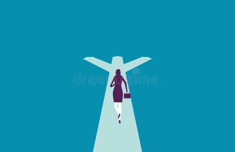 Sentidos do corredor e da escolha da mulher de negócios Ilustração do vetor ilustração stock