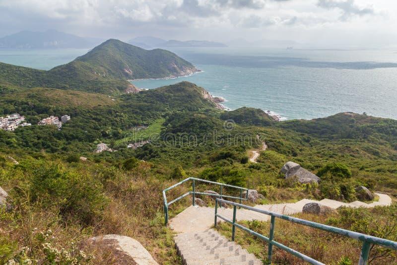 Sentier de randonnée et littoral à l'île de Lamma images libres de droits