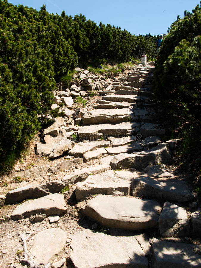 Sentier de randonnée, montagne de Babia de descente, le sommet le plus élevé dans l'être photo libre de droits
