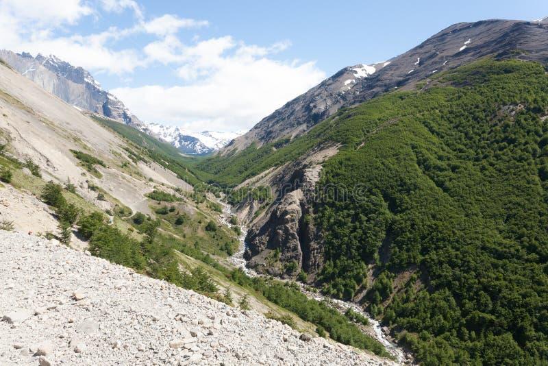 Sentier de randonn?e de vall?e d'Ascencio, Torres del Paine, Chili photo stock
