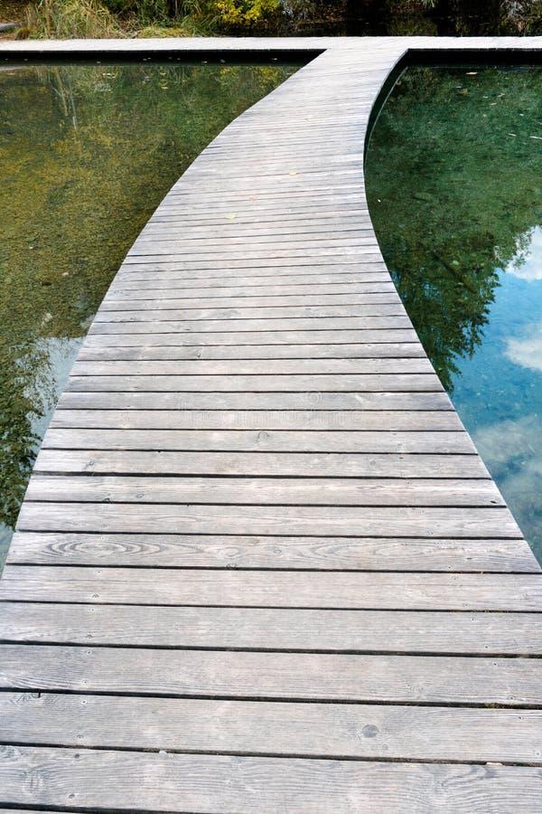 Sentiero costiero di legno lungo e d'avvolgimento sopra un chiaro lago dell'acqua blu immagine stock