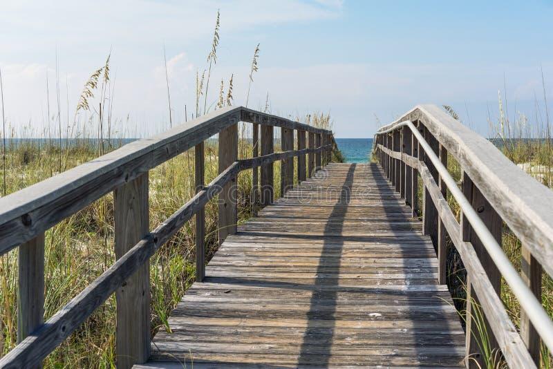Sentiero costiero di legno rustico della spiaggia attraverso le dune di sabbia immagini stock libere da diritti