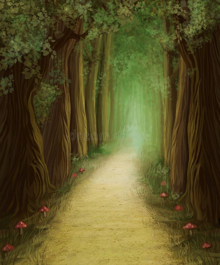 Sentiero forestale scuro magico illustrazione di stock