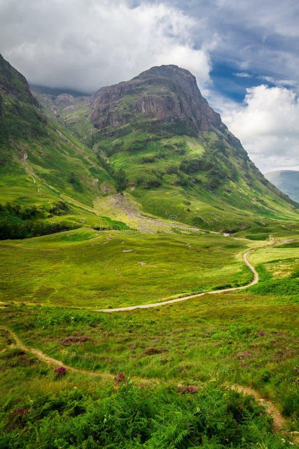 Sentiero per pedoni di bobina negli altopiani della Scozia immagini stock libere da diritti