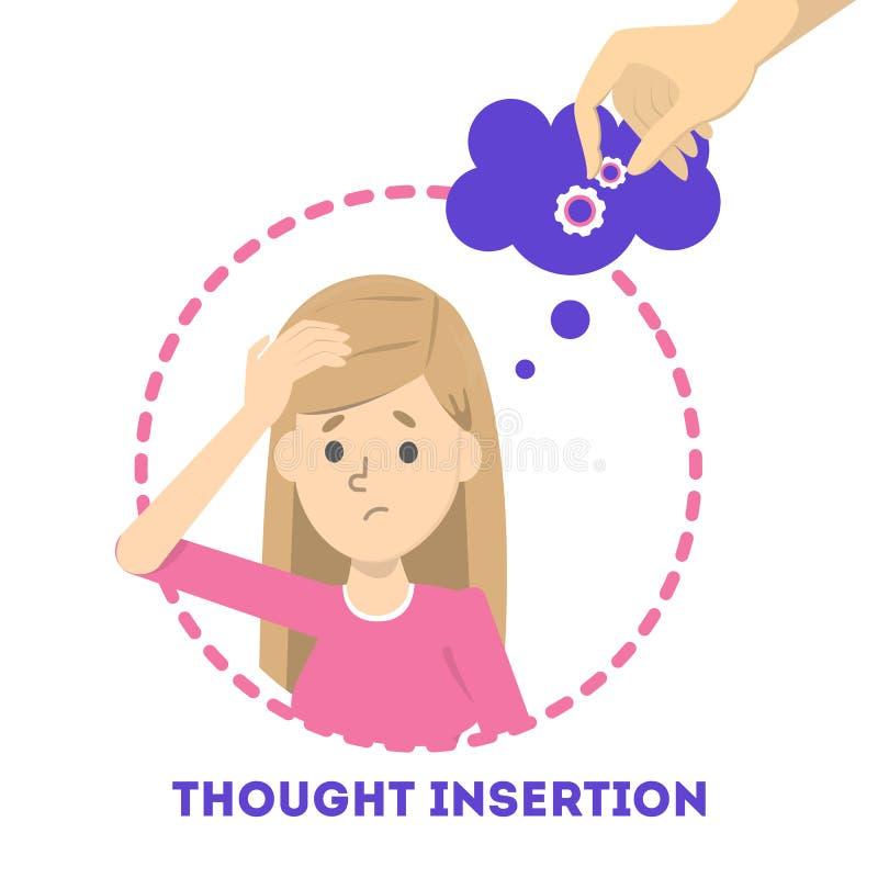 Sentiment d'insertion de pensée comme symptôme de la schizophrénie et du trouble bipolaire illustration de vecteur