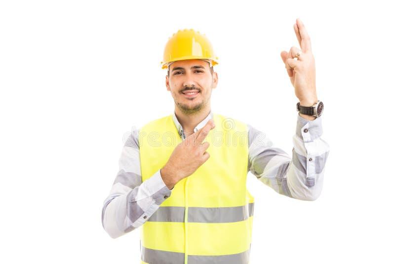 Sentiment de travailleur de la construction ou d'architecte chanceux et faisant bon l photo libre de droits