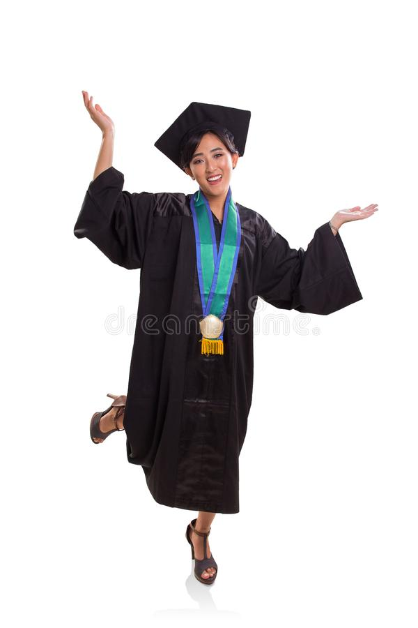 Sentiment enthousiaste de la graduation, portrait intégral d'isolement dessus photographie stock libre de droits