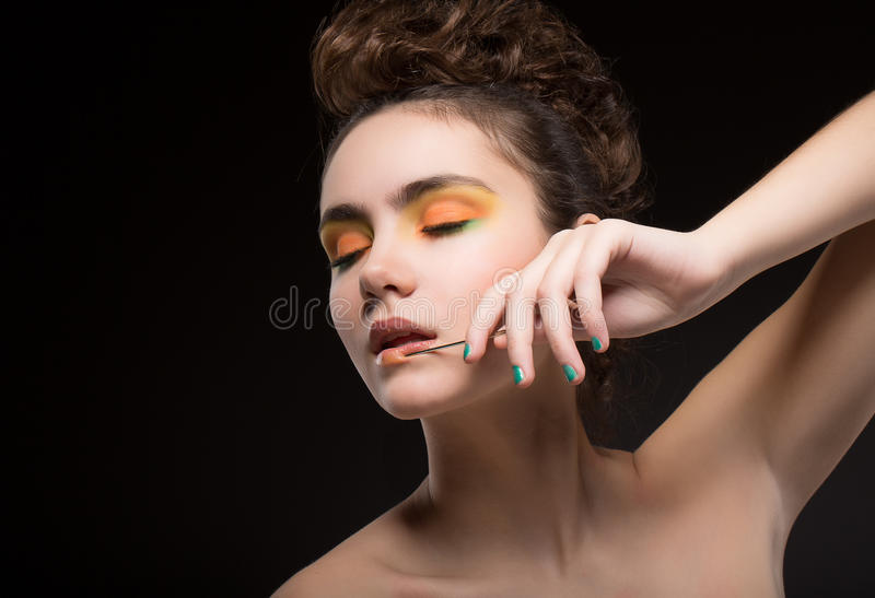 Sentiment. Nifty Cute Dreaming. Nostalgia. Bright Eye Makeup. Sensual woman Dreaming. Nostalgia. Bright Eye Make up royalty free stock photos