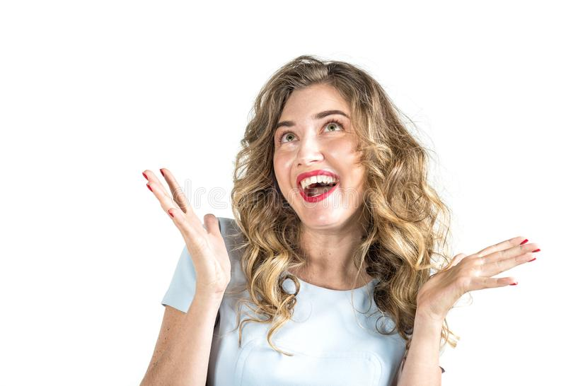 Sentiment positif de sourire de fille de portrait d'émotion mignonne d'expression photographie stock libre de droits