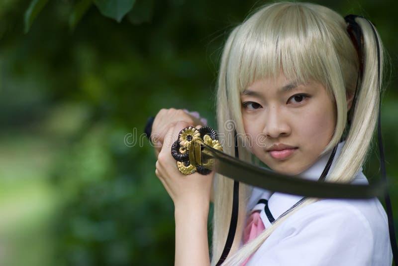 Sentimental samurai girl royalty free stock image