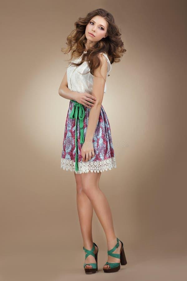 Sentimentality. Elegant Cute Female in Stylish Dre stock image