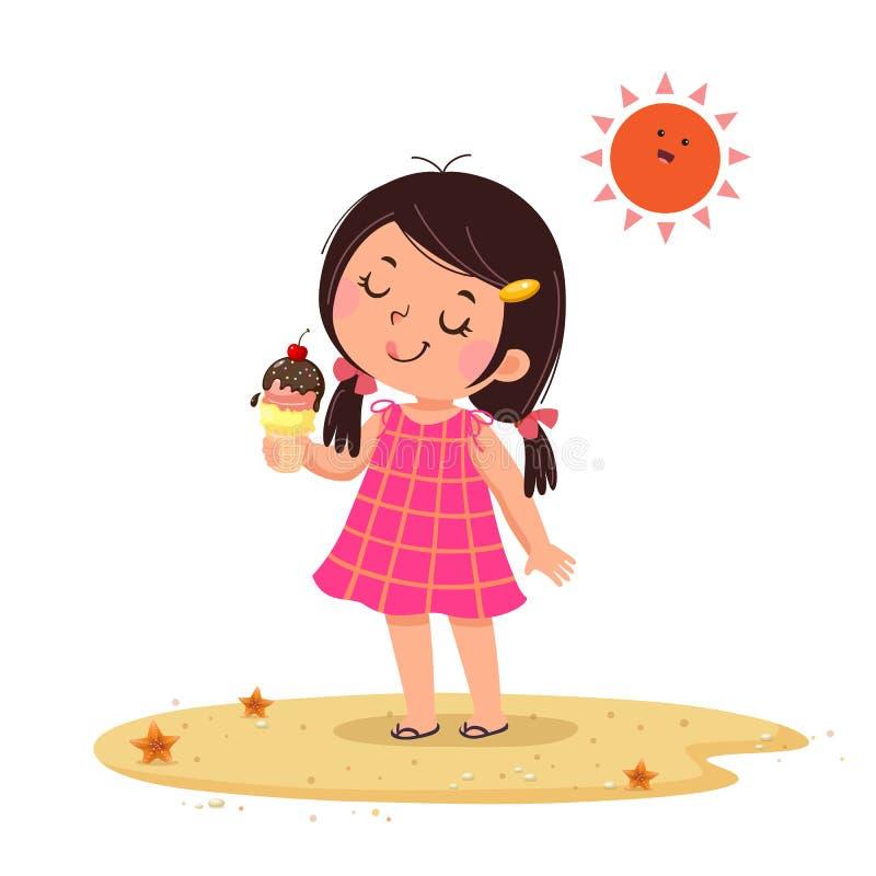Sentimento bonito da menina feliz com seu gelado ilustração royalty free