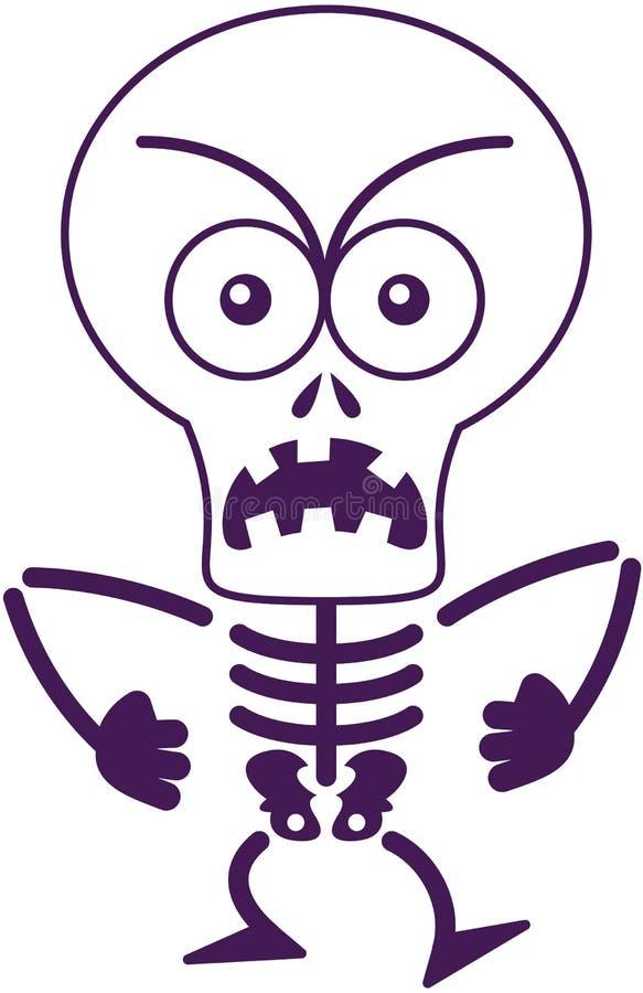 Sentimento de esqueleto irritado de Dia das Bruxas furioso e protesto ilustração royalty free