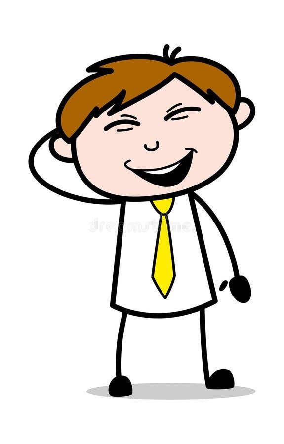 Sentimento excitado - ilustração de Employee Cartoon Vetora do vendedor do escritório ilustração stock