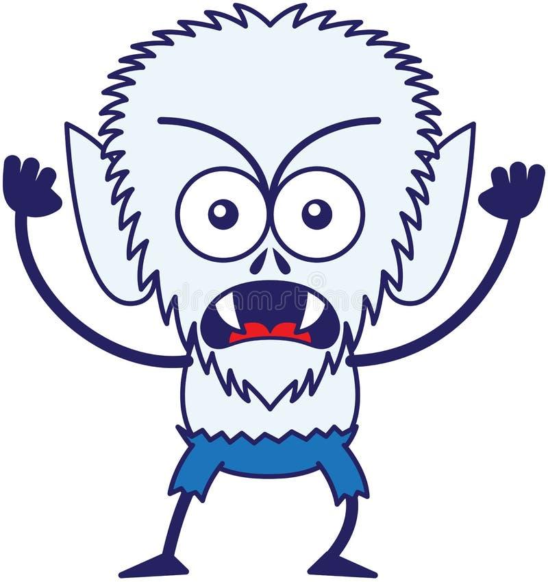 Sentimento irritado do homem-lobo de Dia das Bruxas furioso e protesto ilustração stock