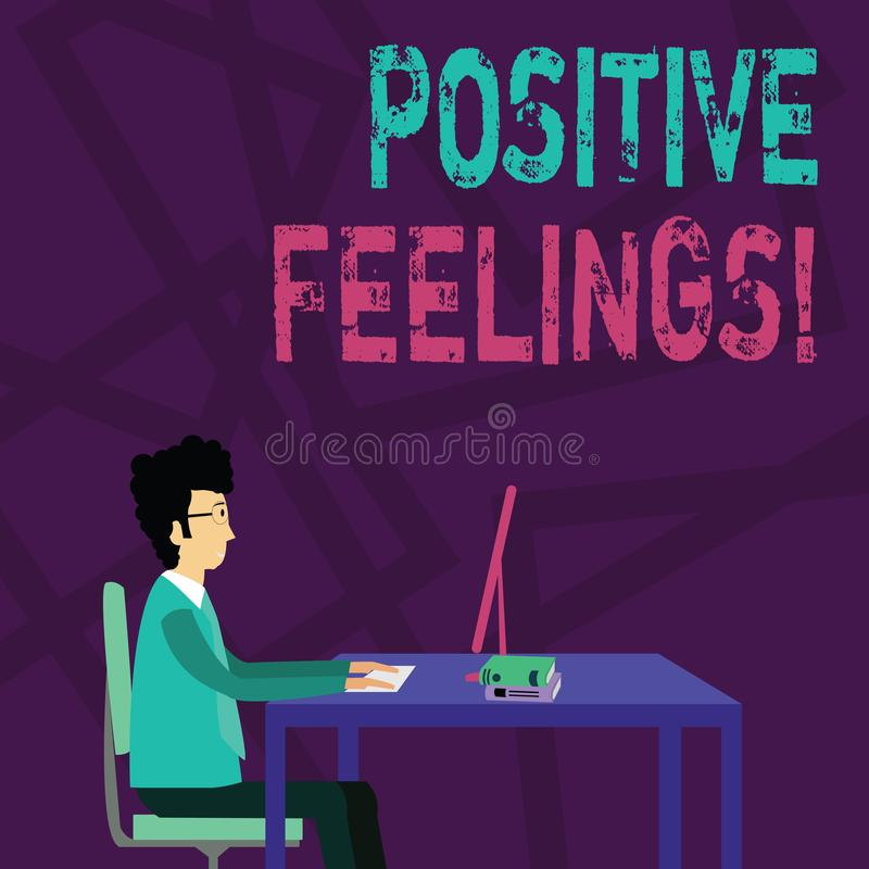 Sentiments positifs des textes d'écriture Concept signifiant tout sentiment où il y a un manque de négativité ou de tristesse illustration de vecteur